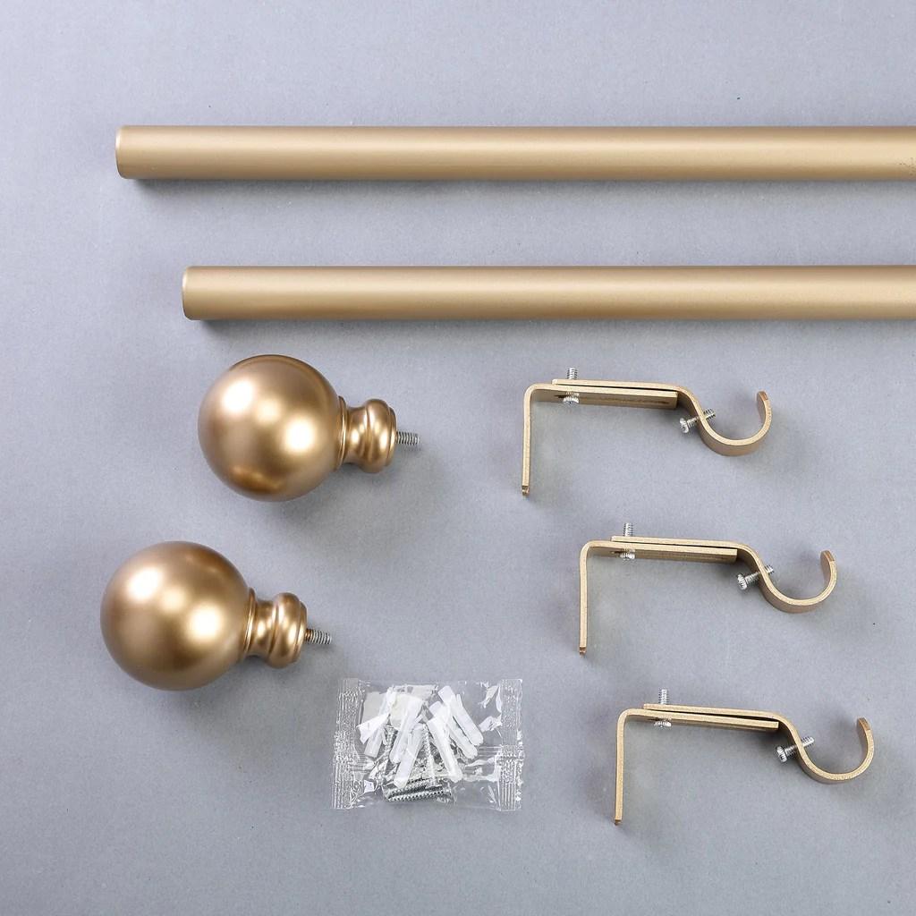 42 126 adjustable curtain rod set gold round finials