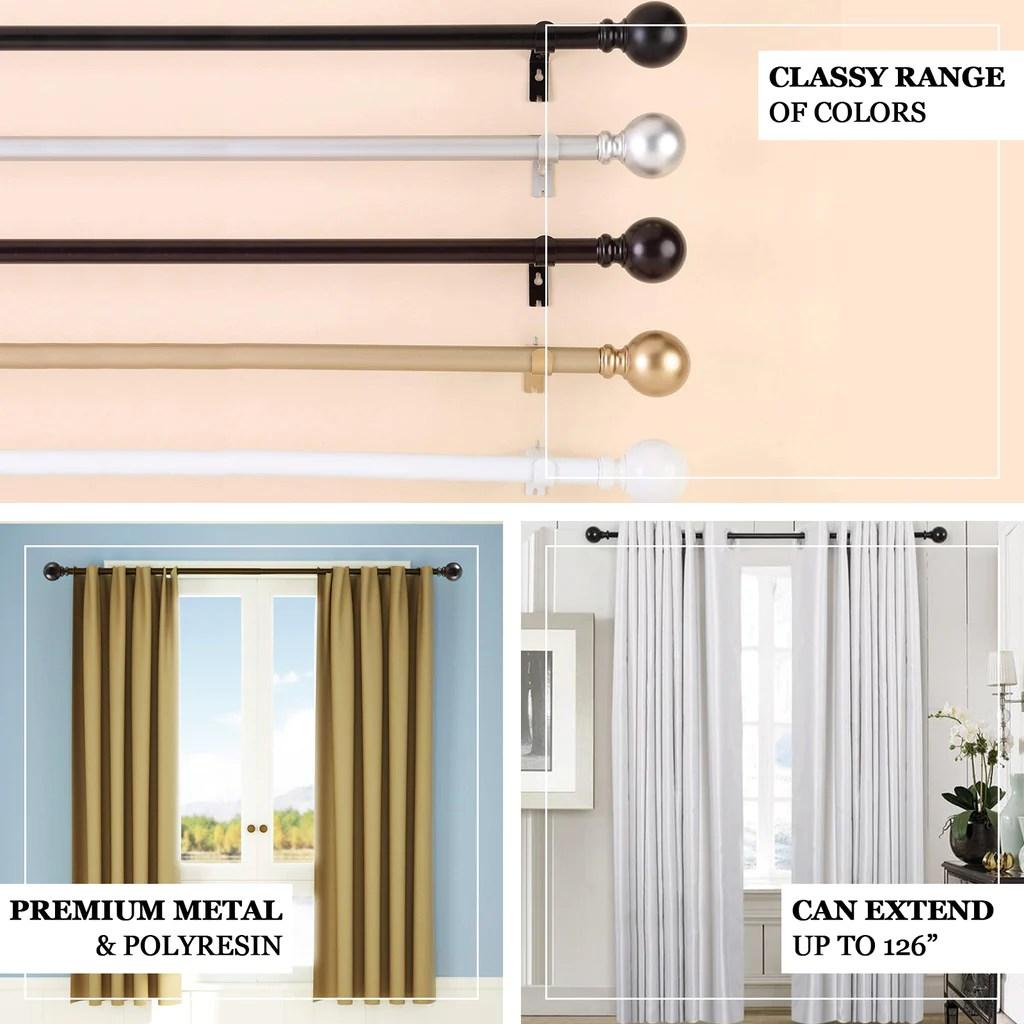 42 126 adjustable curtain rod set bronze round finials