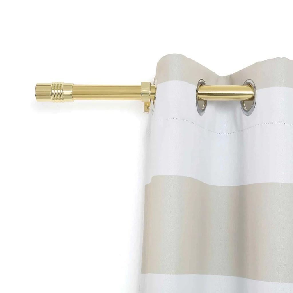 42 126 metal adjustable curtain rods gold designer cylinder finials