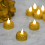 Gold Glitter Flameless Led Candles Battery Operated Tea Light Candles Tableclothsfactory