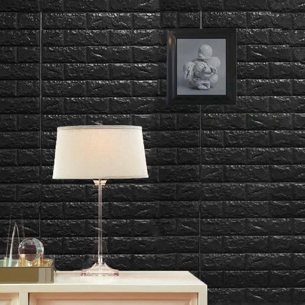 pack of 10 58 sq ft black foam brick wall tiles peel and stick 3d wall panel room decor