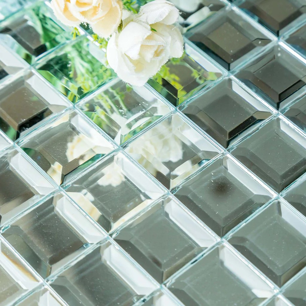 10 pack 12 x12 silver peel and stick backsplash mirror wall tiles tableclothsfactory