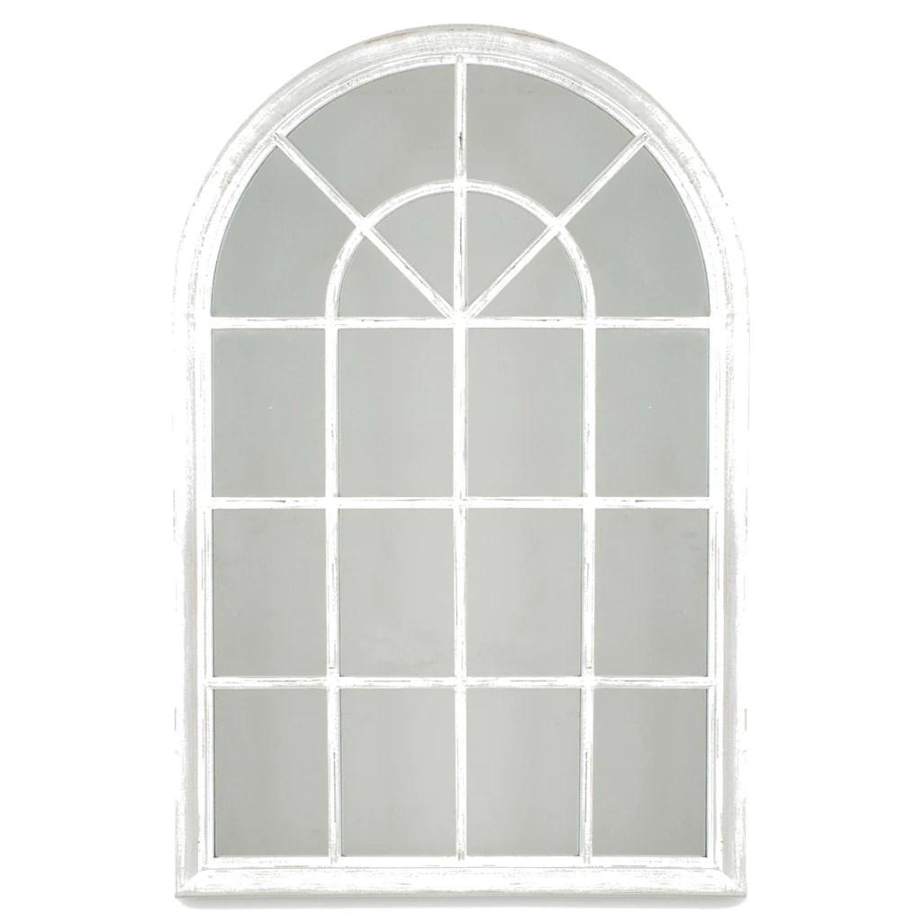 small distressed white wood window mirror
