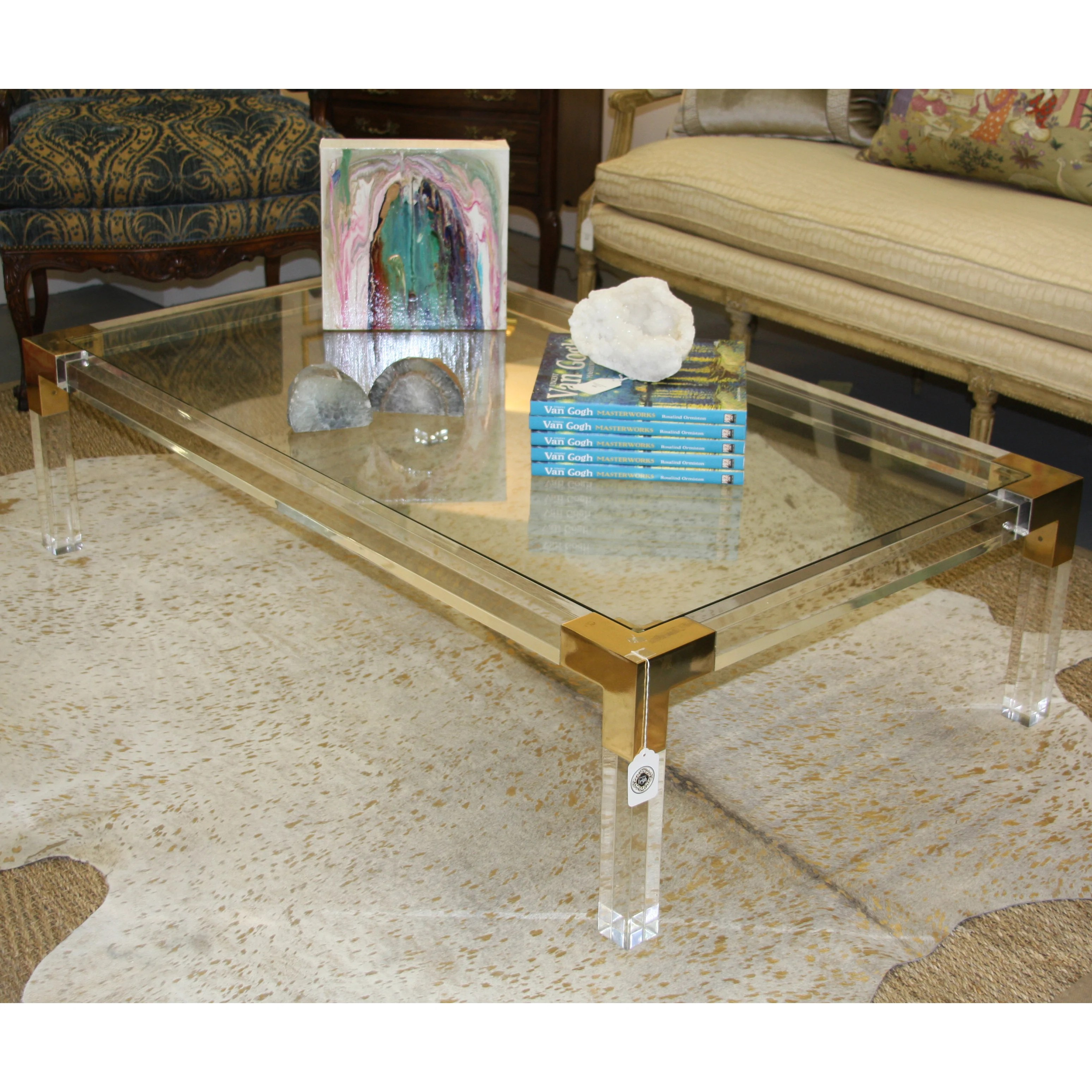 lucite brass cocktail table