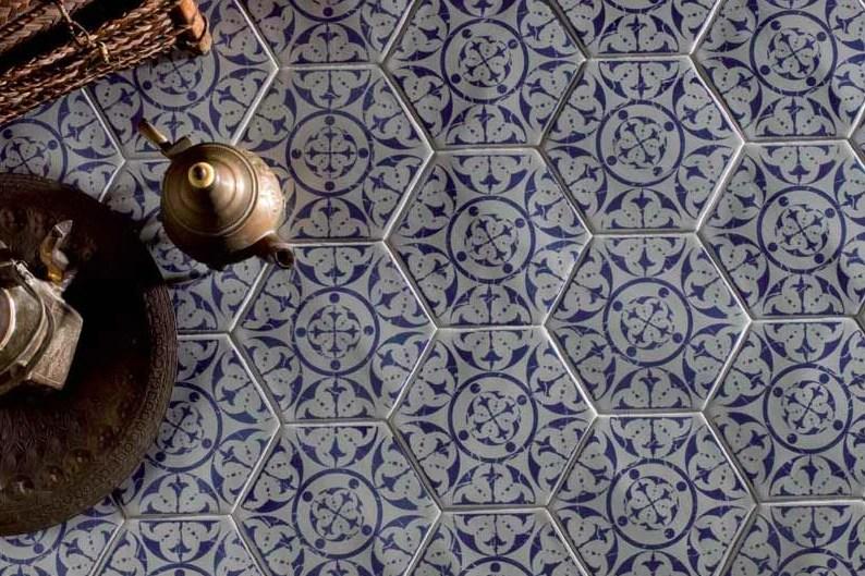 moroccan blue hexagon encaustic effect tiles