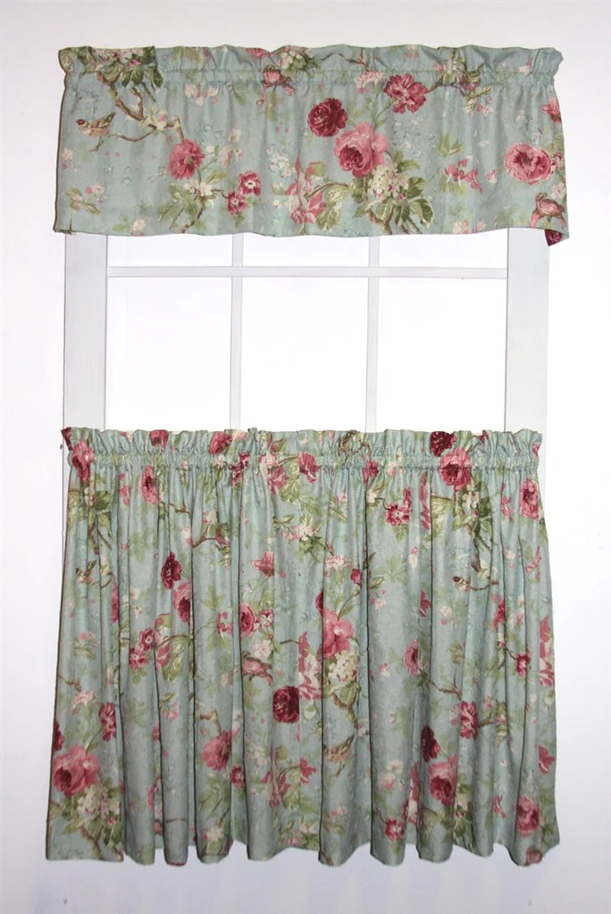 Balmoral Gardens Floral Print Tailored Tiers Amp Valance Window Curtains Set Window Toppers