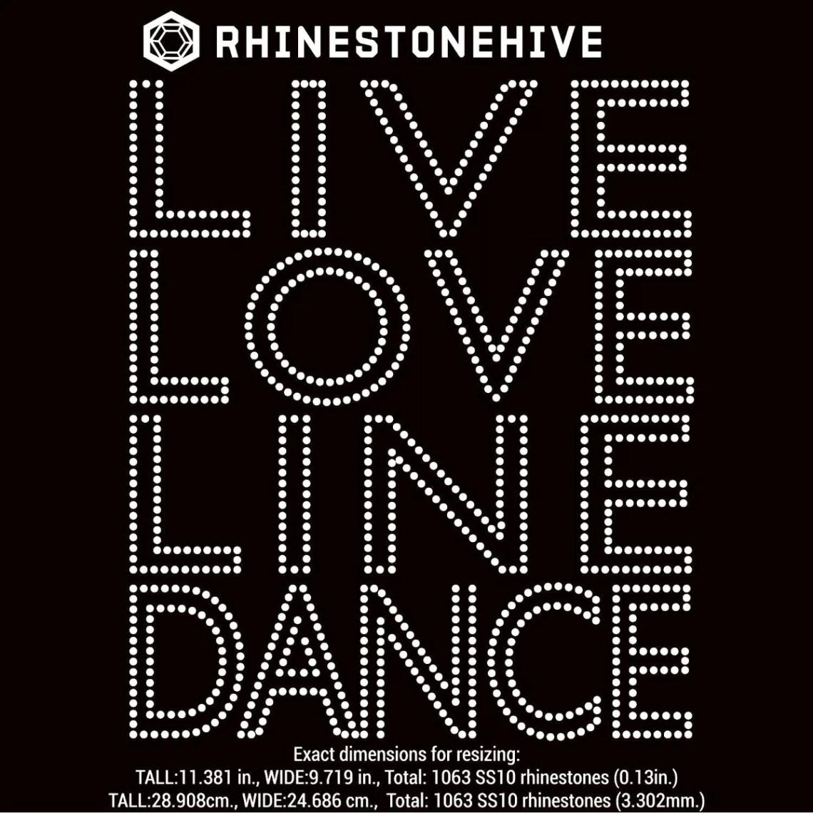 Download Live Love Line dance rhinestone template digital download ...