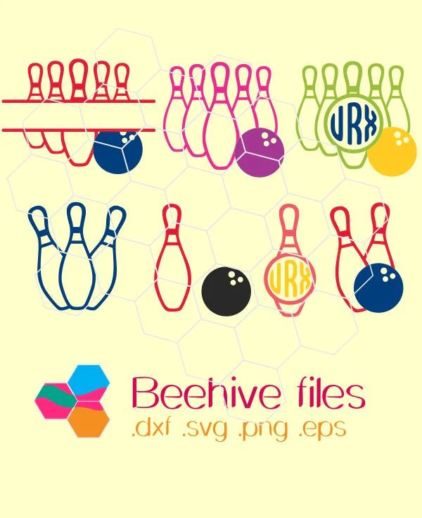 Download Bowling, Monogram Frames, Balls and Pins in svg, dxf, png ...