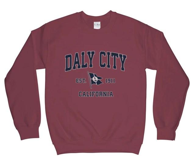Daly City California Ca Vintage Boat Anchor Flag Sweatshirt Unisex