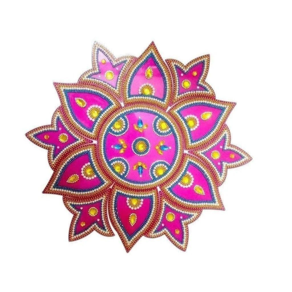 Buy Kundan Rangoli Design Pink color For Home Décor Online in USA