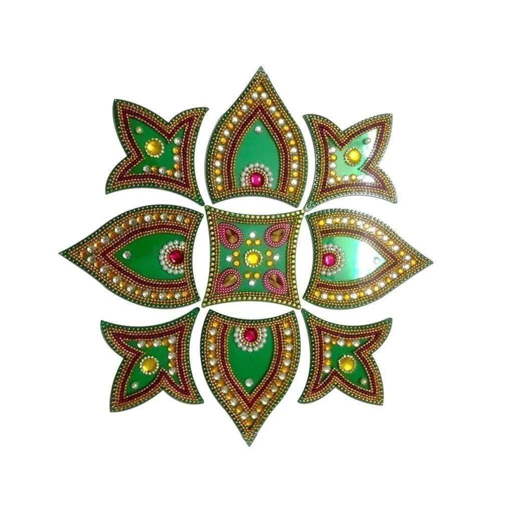Kundan Rangoli Design Green color For Decoration Online in USA