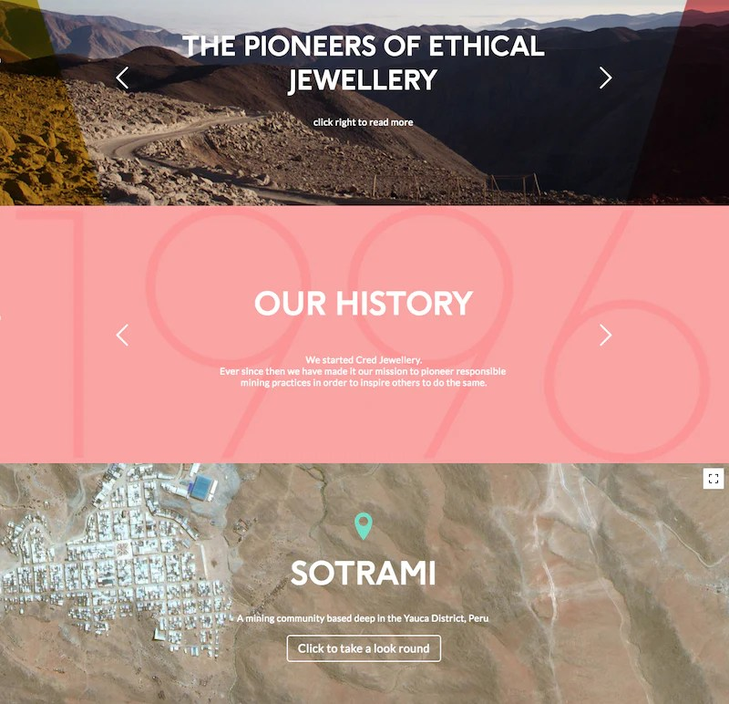 Cred Jewelry's page about sustainability and the Peruvian mining community they support