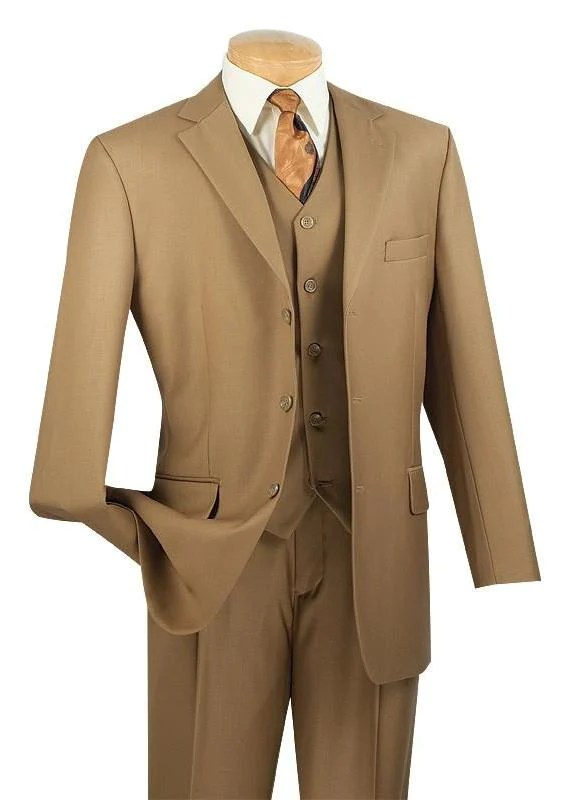 Avalon Collection - Classic Fit Men's Suit with Vest 3 Buttons Pure Solid Khaki - British Khaki / Double Pleated Unhemmed Pants 36