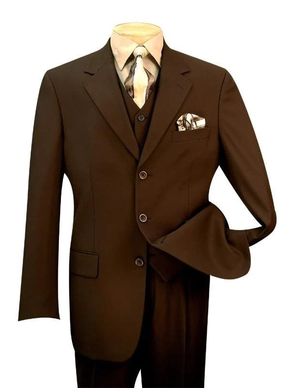 Avalon Collection - Classic Fit Men's Suit with Vest 3 Buttons Pure Solid Brown - 38 Regular - 32 Waist / Double Pleated Unhemmed Pants 36