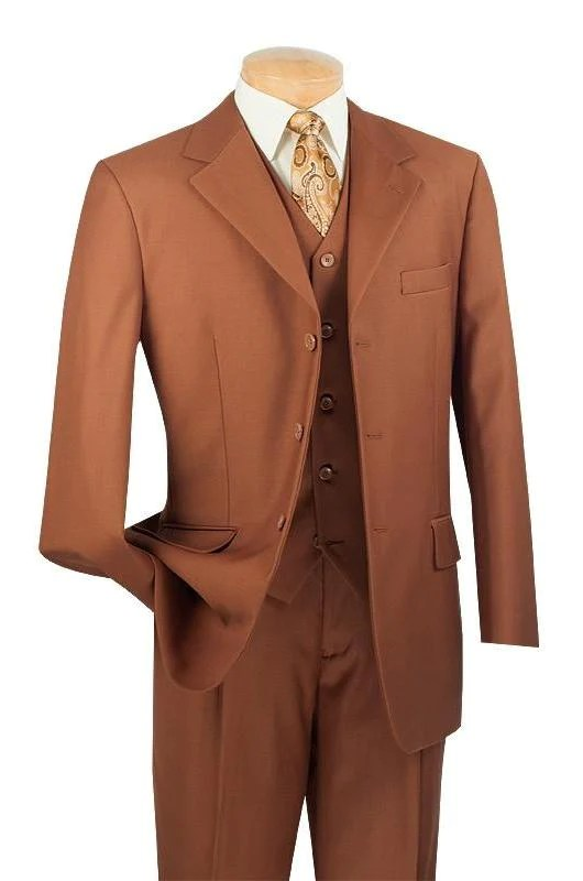 Avalon Collection - Classic Fit Men's Suit with Vest 3 Buttons Pure Solid Cognac - Double Pleated Unhemmed Pants 36