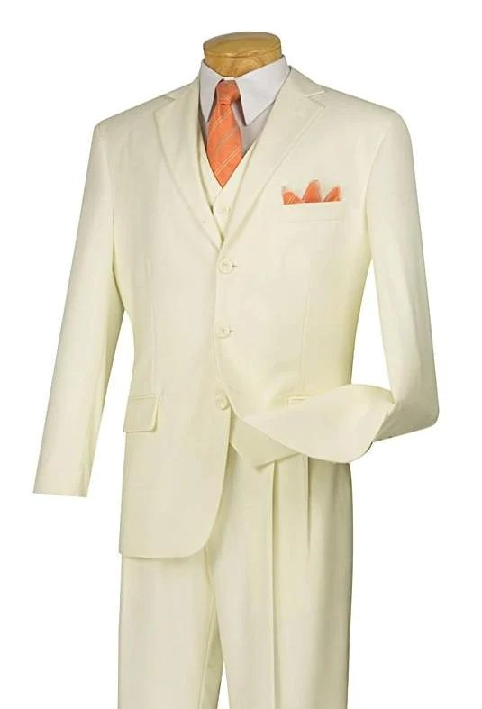 Avalon Collection - Classic Fit Men's Suit with Vest 3 Buttons Pure Solid Ivory - Ivory / Double Pleated Unhemmed Pants 36