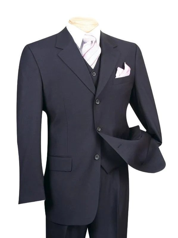 Avalon Collection - Classic Fit Men's Suit with Vest 3 Buttons Pure Solid Navy - Navy / 36 Regular - 30 Waist / Double Pleated Unhemmed Pants 36
