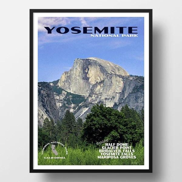 antiquitaten kunst kunstplakate yosemite national park poster half dome erika lt