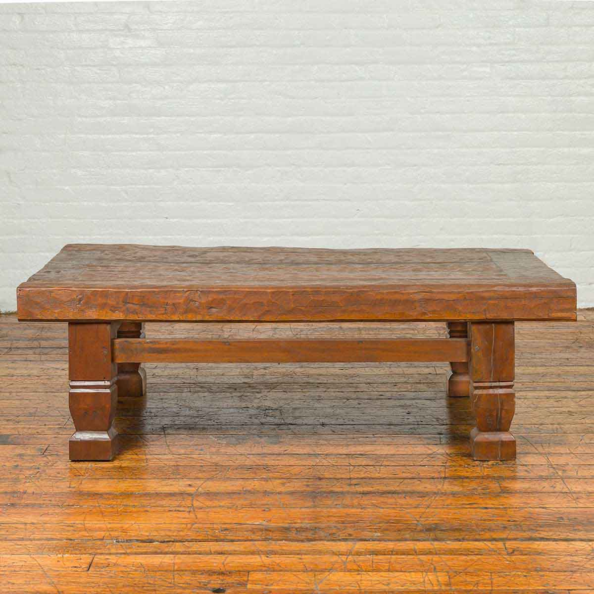 primitive indonesian coffee table with distressed finish fea home