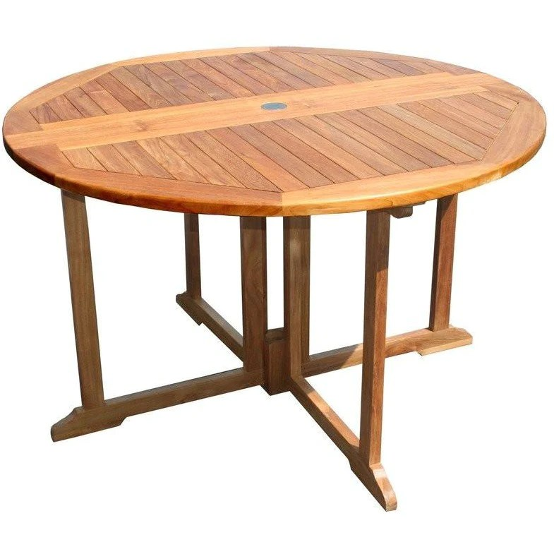 teak wood butterfly round outdoor patio folding table 47 inch