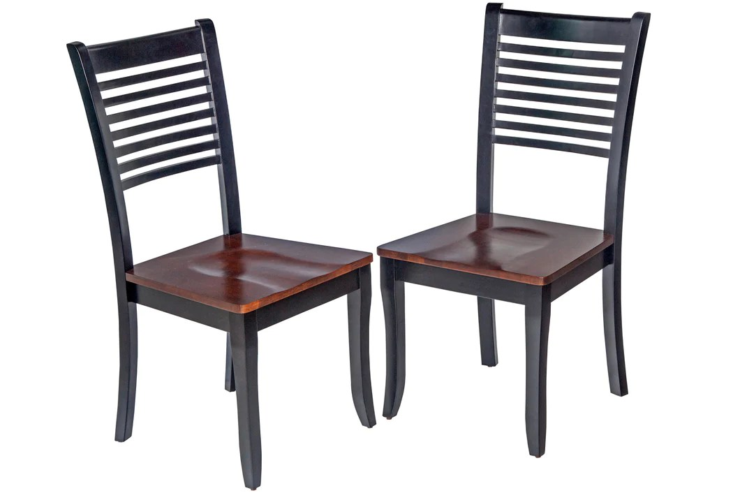 Two Sturdy Dining Chair In Distressed Light Cherry And Black Tuscohome