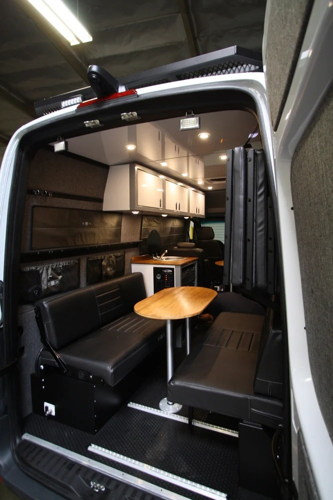 76 Quot Rear Dinette Bed Setup For 07 Sprinter Vans Grey