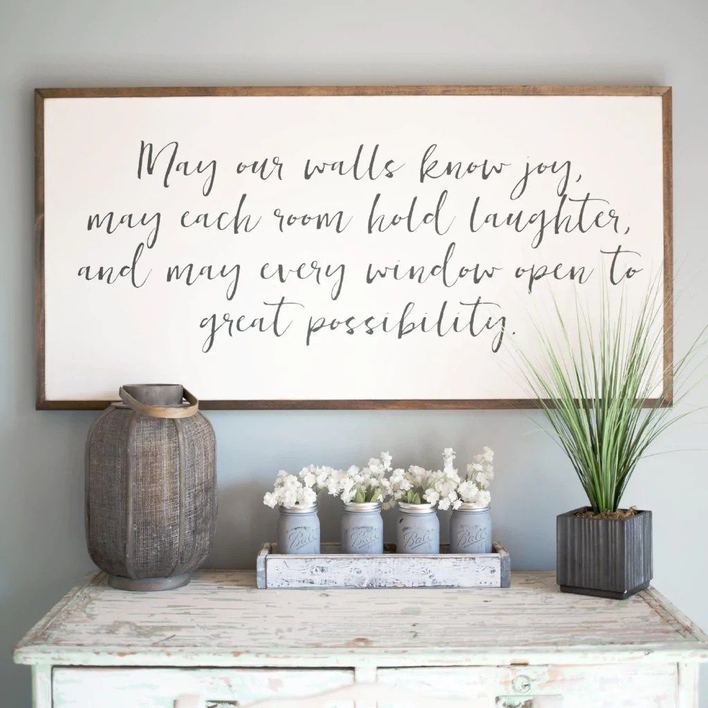 May our Walls know Joy 4'x2' Wood Sign | Home Decor ... on Home Wall Decor Signs id=42649