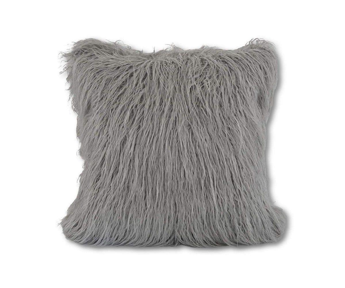 boras 18 x 18 mongolian faux fur pillow cover grey