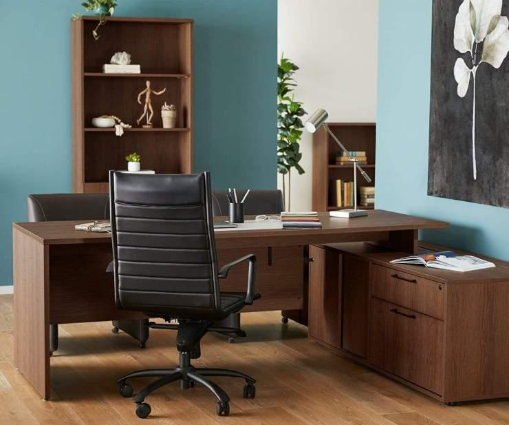 Mid Century Modern Office, Inari Desk With Storage Return Cool Brown - Scandinavian Designs