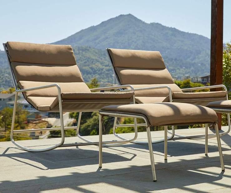 Paola Outdoor Rocker & Ottoman Taupe/Stainless Steel - Scandinavian Designs