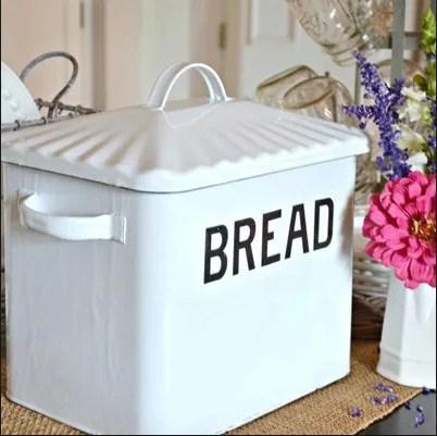 Enameled Metal Bread Box In Distressed White Farmhouse Fresh Home