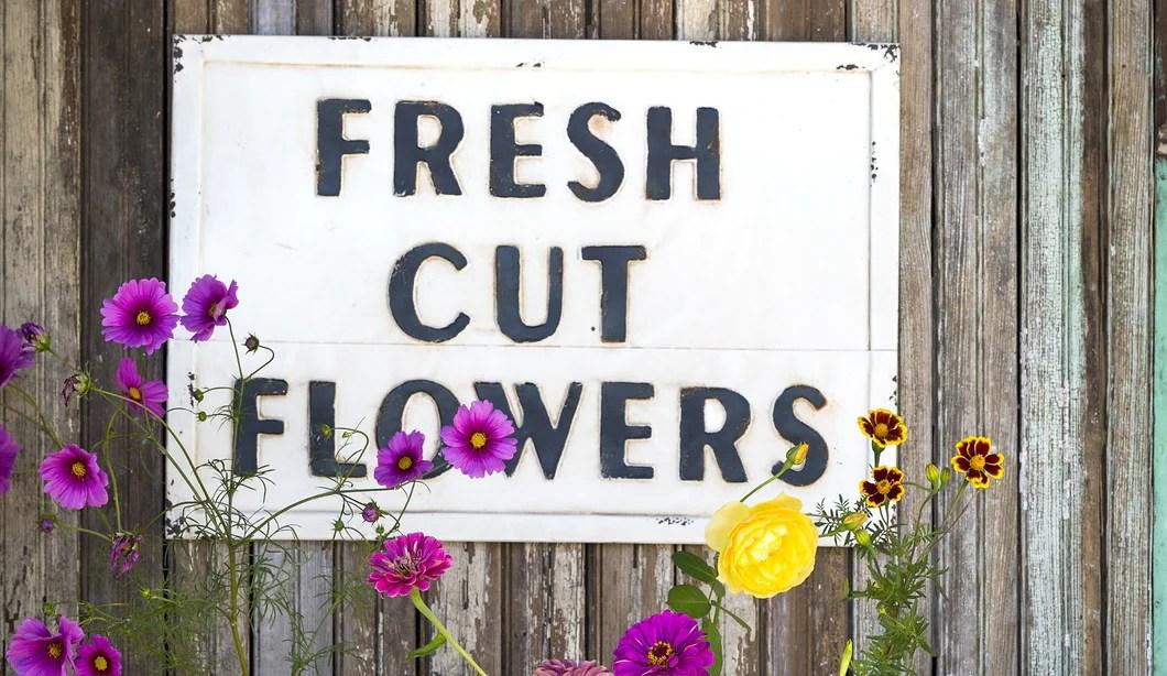 Vintage Embossed Metal FRESH CUT FLOWERS Sign Farmhouse Fresh Home