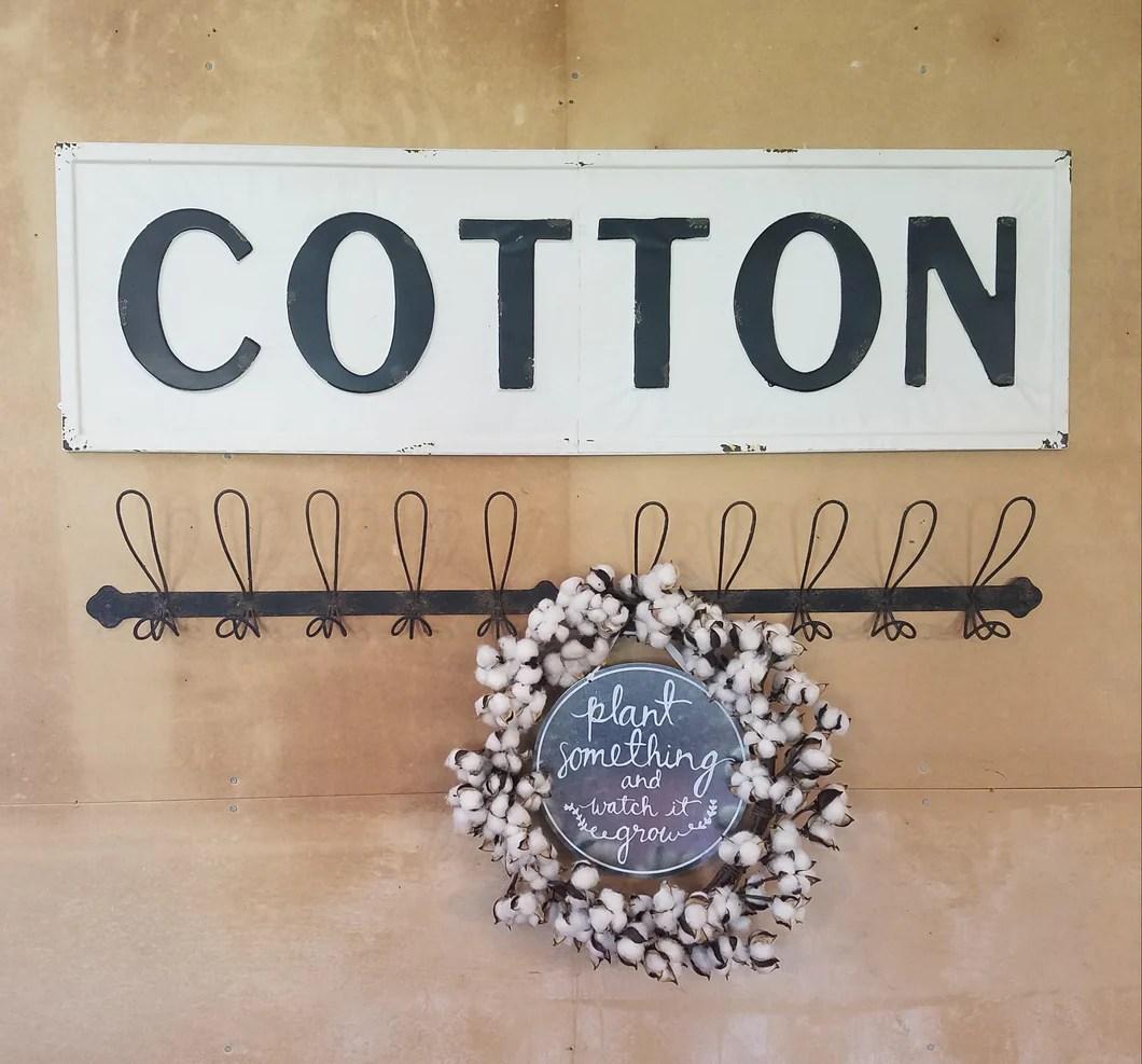 Vintage Embossed Metal COTTON Sign Farmhouse Fresh Home