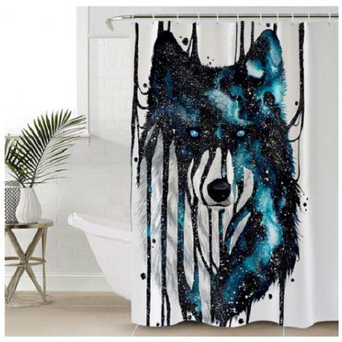 dripping galaxy wolf shower curtain