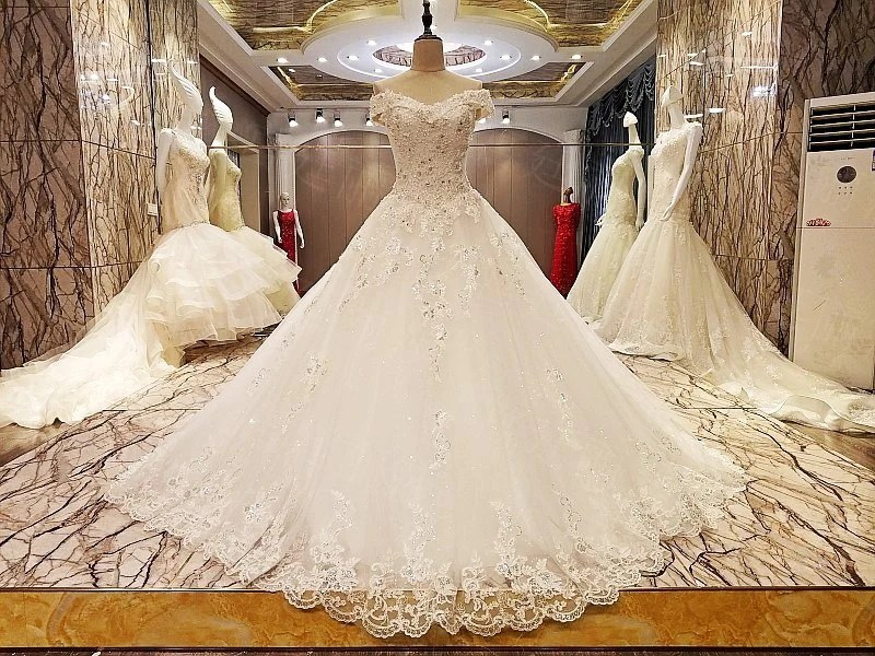 TW10 Off Shoulder Heavy Handmade White Flower Lace Wedding