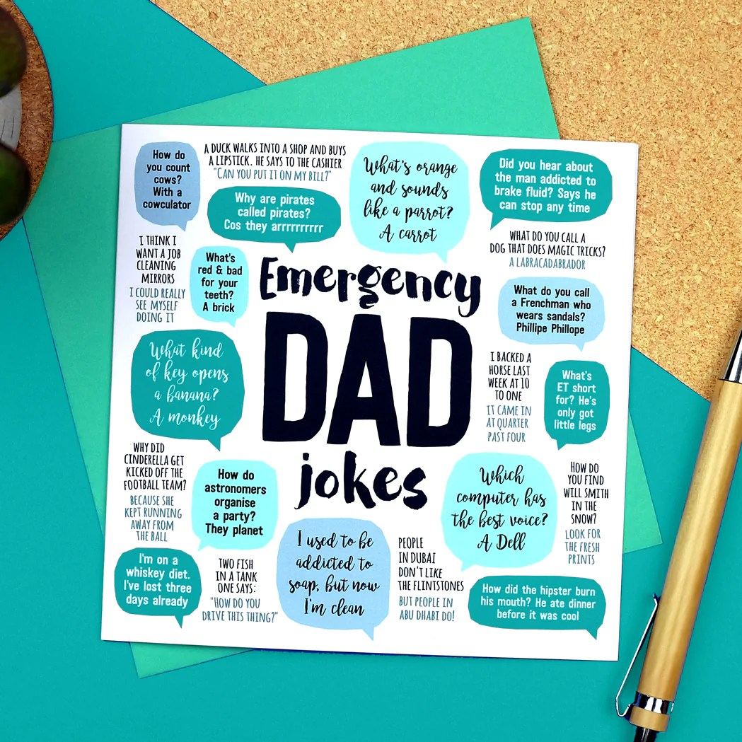 Emergency Dad Jokes Card Paper Plane
