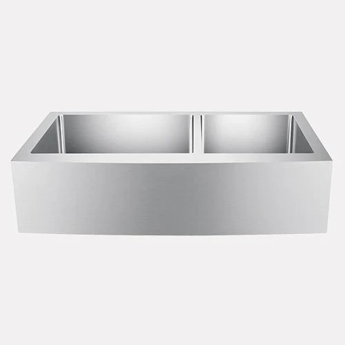 36 sipsey stainless steel 60 40 offset double bowl farmhouse sink curved apron