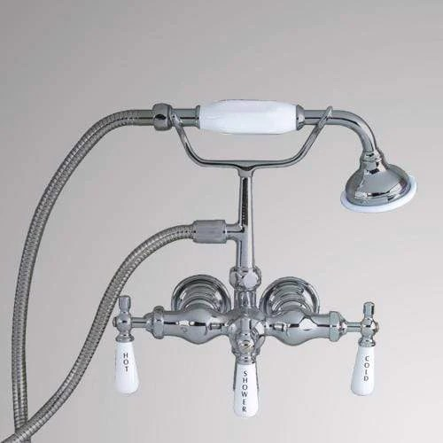 antique style diverter wall mount tub faucet with hand shower