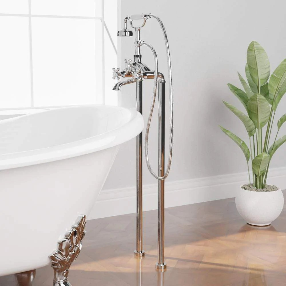 freestanding telephone tub faucet and supply lines angular body and cross handles