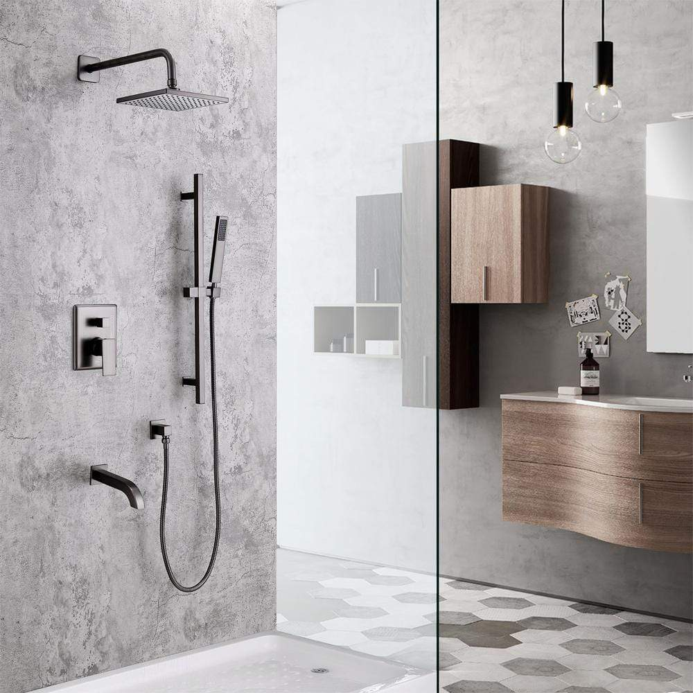 kenton pressure balance shower system with shower head hand shower and tub spout