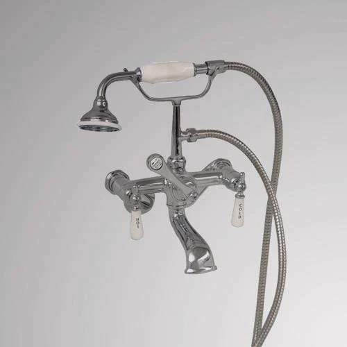 traditional wall mount tub faucet with hand shower