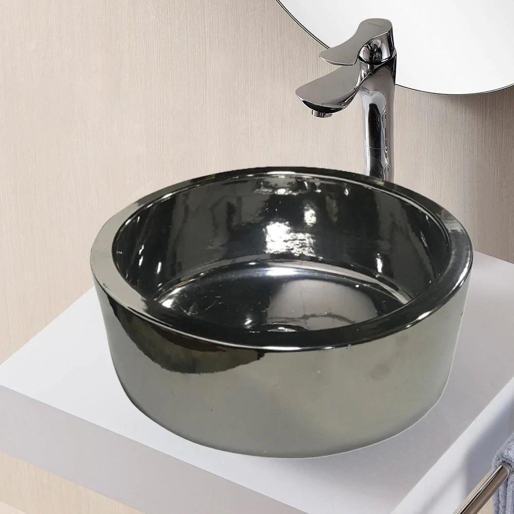 whitlash vitreous china vessel sink polished silver