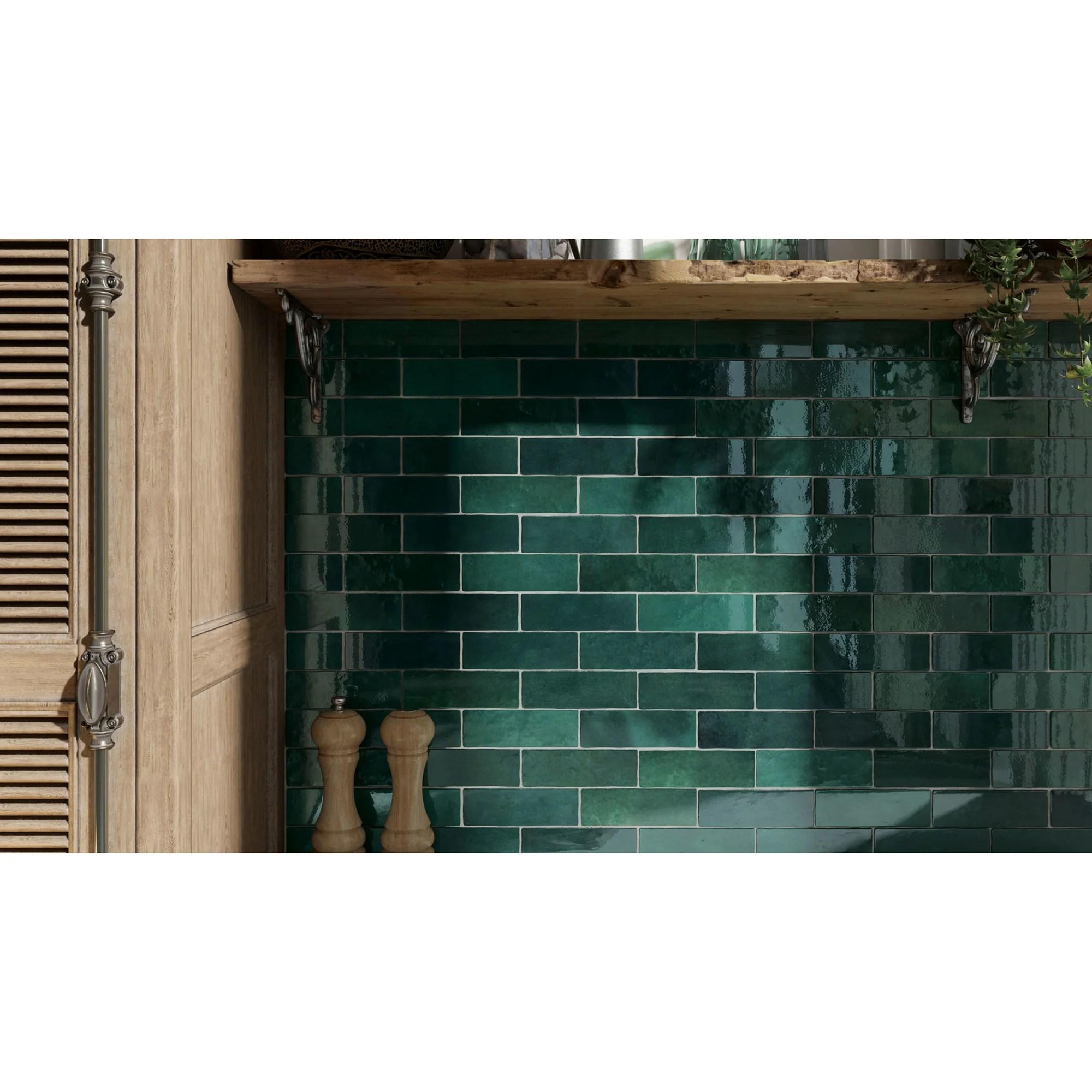 bedrosians tile stone cloe 2 5 x 8 wall tile green