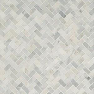 msi arabescato carrara herringbone pattern marble mosaic honed