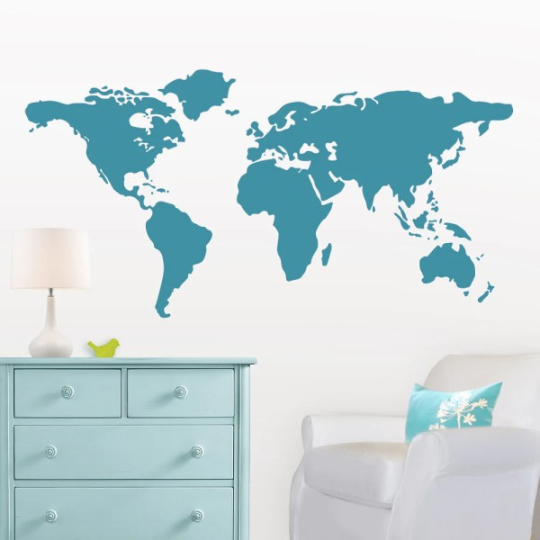 Large World Map Wall Decal 7 feet wide     Lulukuku Turquoise World Map Wall Decal