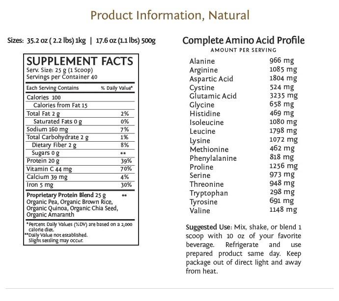 Sunwarrior Plus natural nutritional information