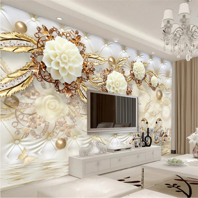 beibehang Swan jewelry reflection Custom Floor 3D Wall paper Mural     beibehang Swan jewelry reflection Custom Floor 3D Wall paper Mural 3d  wallpaper for walls 3 d wall painting wall stickers home