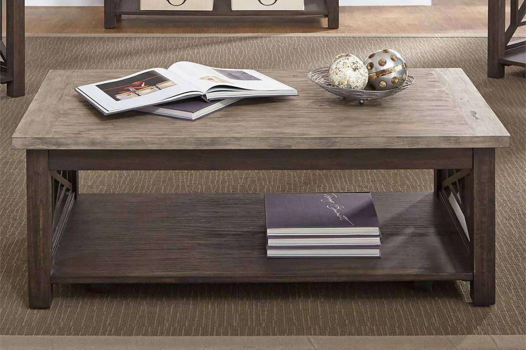 wood base with light wood top coffee table