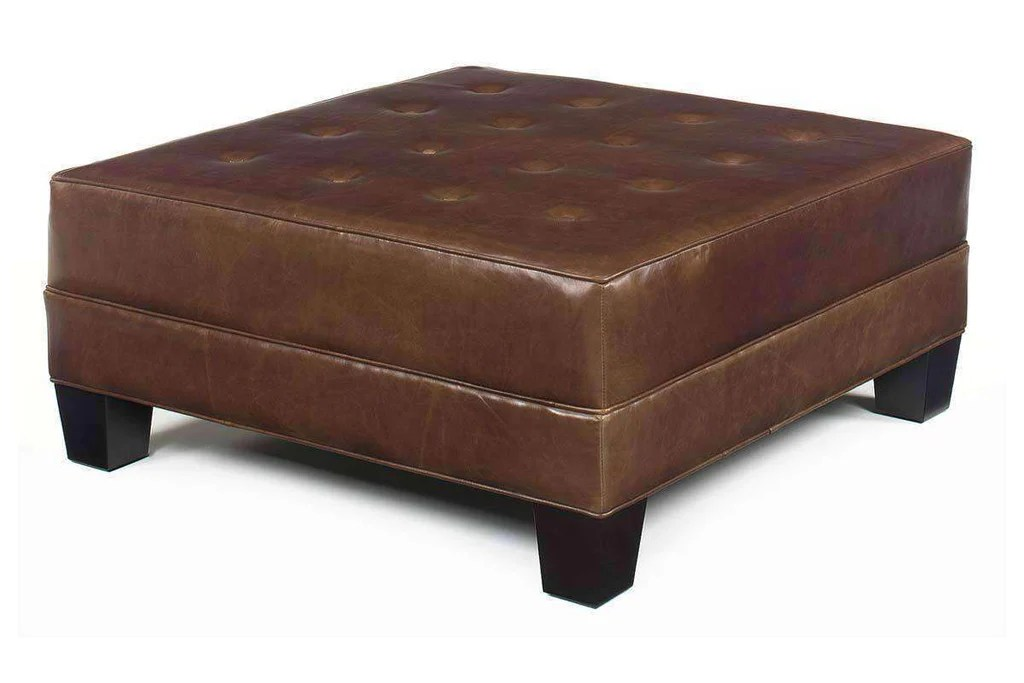 drew 42 inch square large leather ottoman coffee table