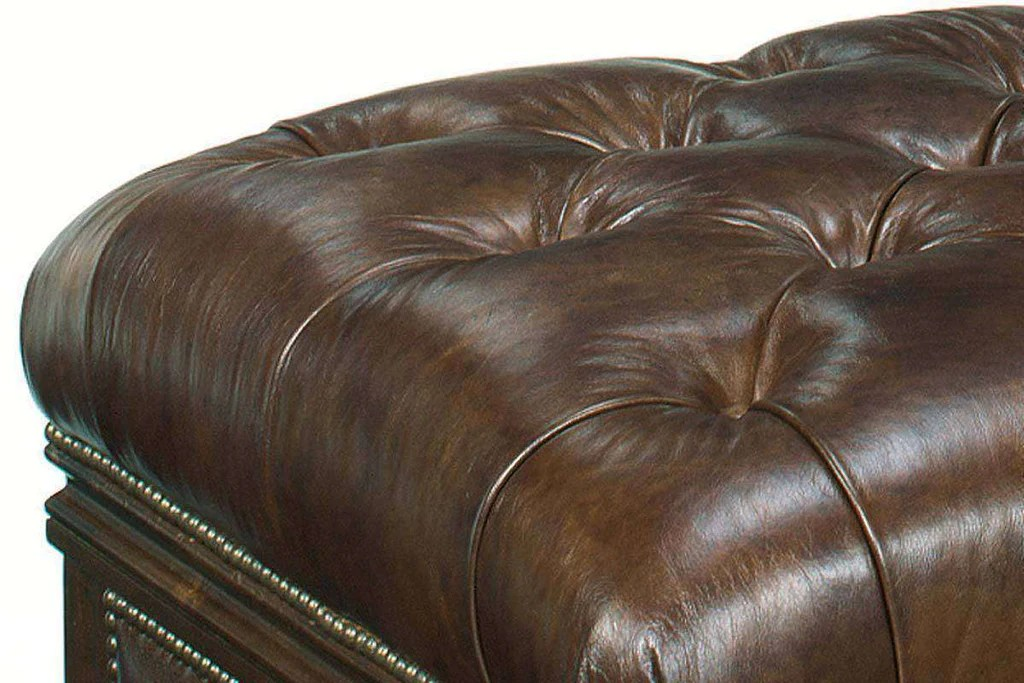 43 inch long tufted top leather drawer